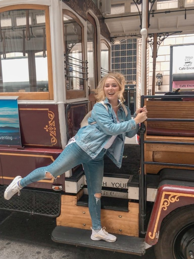 2 day San Fransisco Itinerary Posing with a Cable Car
